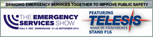 The Emergency Services Show 2016 | Stand F16 | 21 - 22 September, 2016 | NEC, Birmingham, UK
