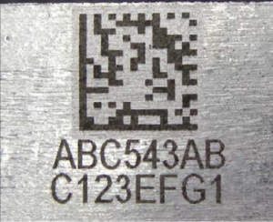 2D Matrix Code laser engraved on Metal